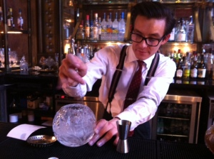 We can's show you our spanking new bar yet, but here's a fine looking bar at the St. Pancreas hotel, with bar man hard at work making my birthday cocktail, good man!