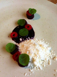 Beetroot, raspberry and horseradish snow.
