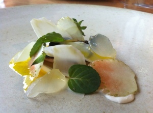 So pretty, so tasty, so unusual, mackerel with green strawberries.