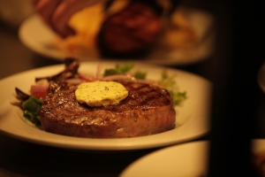 Our delicious 9oz rib eye steak will be accompanied by snails in garlic butter