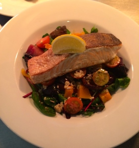 Pan fried salmon with roast squash and quinoa
