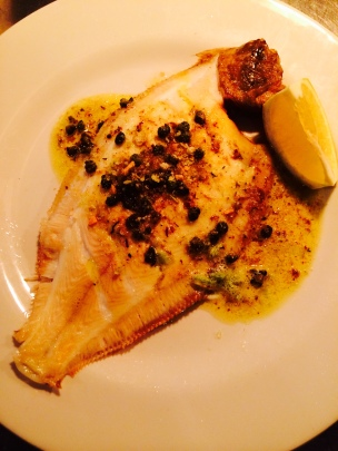 Lemon sole with fried capers, garlic butter and herb crumb