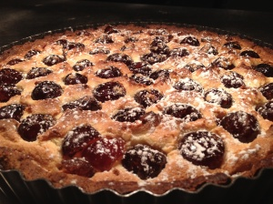 A delicious cherry frangipane tart, just one of the many desserts we can prepare for your dinner party.