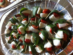 Mozzarella, sun dried tomato and basil skewers.
