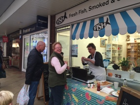Trish from Fish! Serving her homemade fish finger baps!