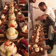 Darryl plating up our desserts for the first Pudding Club